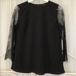Banana Republic Woven Top with 3/4 Lace Sleeves